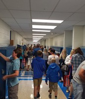 7th and 8th grade hallway during Open House
