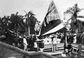 Lowering of the Hawaiian flag at Iolani Palace when Hawaii got Annexed.