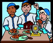 kids enjoying my pizza