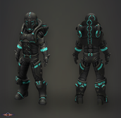 Blue and black exosuit for free runing