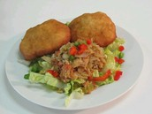 Saltfish with Johnny Cake