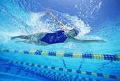 This is an under-water picture of an Olympic Swimmer.