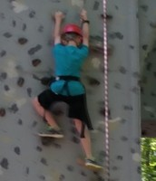 Nick is scaling the wall!