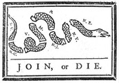 This was one of the first political cartoons ever made. It was made by none other than Benjamin Franklin.
