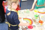 Painting rainbows in Recpetion