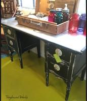 Black / Metal / Silver Desk ~ $450