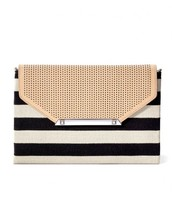 CITY SLIM CLUTCH - BLACK/CREAM CLEAN STRIPE