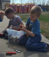 It was so beautiful outside, we did centers outside.