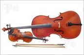 This is a violin and a cello next to each other. Similar, right?