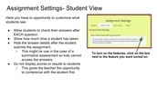 Optional Assignment Settings cont'd