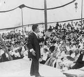 Addressing a large assembly Decatur, Illinoise 1905