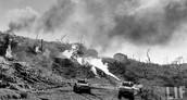 U.S. tanks burn the land to kill off Japanese survivors