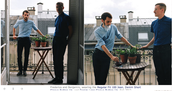 Here's how American Apparel poses men in a unisex blue button down shirt