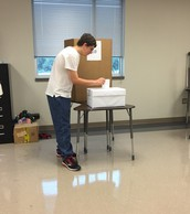 Billy casts his mock election ballot!