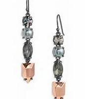 Kahlo Linear Earrings (hematite & rose gold)