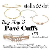 Buy any 3 of our brand new pave cuffs for $79.