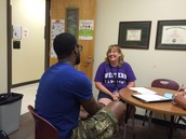 Ms. Ketchie chatting with Mr. Phillips - great team leadership in action!