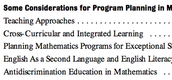 Considerations for Math Planning