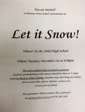 Let it Snow! Winter Concert is on December 1st