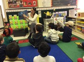 Mrs. Garritt reading Snowmen at Night
