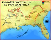 Route of de soto Expedition in North America
