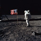 The American flag on the Moon