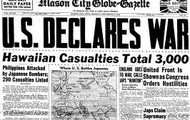 Within hours after the attack, the U.S. declares war on Japan'.
