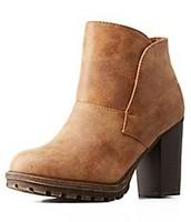 Bamboo Lug Sole Chunky Heel Boots