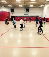 Our Unicycle Team and Coach C. are Hard at work!