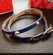 Hudson Blue Leather Double Wrap reg. $42   NOW $25