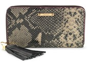 Black snakeskin leather mercer clutch wallet