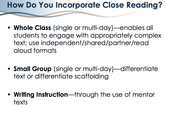 How do you incorporate close reading?