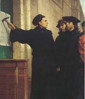 Martin Luther nailing the 95 theses up