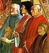 Lorenzo de' Medici between Antonio Pucci and Francesco Sassetti, with Giulio de' Medici, fresco byGhirlandaio