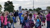 Students gathered in the morning to Walk to School