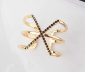 Pave Spinx Ring, Gold--Size M/L, Adjustable