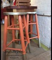 Pair of Solid Oak Orange & Metallic Painted Stools - $100