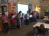 Performing our Reader's Theater for the class.