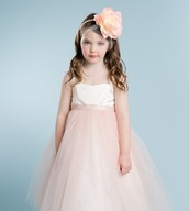 Two Tone Satin Dress With Tulle Skirt
