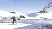 Imagine a dinosaur on  the Arctic Oceaan