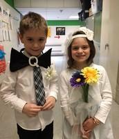 Kindergarten students at the Q and U wedding.