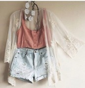 light pink blouse top; high wasted light washed shorts; white kimono