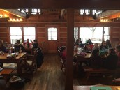 Warm and dry! Lunch in the lodge...