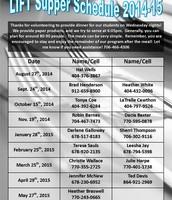 LIFT Supper Schedule