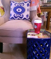 Look at this wingback chair in a gorgeous Houndstooth fabric!
