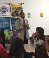 Commissioner Theldon Branch speaking to students