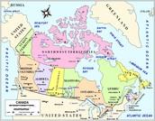 U.S Canada Political Border Map