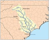 Location of the Yadkin Pee Dee river
