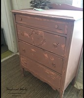 Antique 4-Drawer Chippy Dresser in Dusty Rose - $225