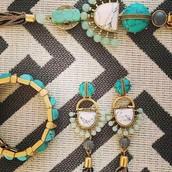 Totem Tassel Pendant Necklace ($79); Totem Tassel Chandeliers ($59); Sawyer Stone Stretch Bracelet ($49)